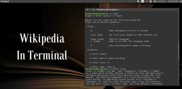 Cómo buscar y usar la Wikipedia desde la terminal